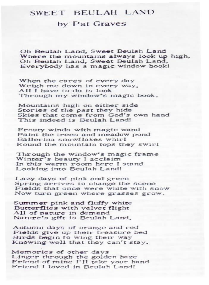 poem sweet beulah land